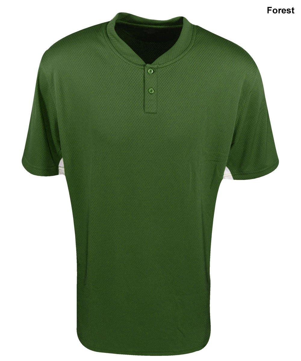 Mizuno Youth 2�Button color block jersey, ragazza Ragazzi, Forest, XL