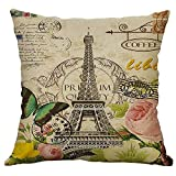 UFACE Mixtes Housses de Coussin Lin Imprimé Floral Plante Bâtiment la Tour Eiffel Doux Carré 45x45 Zip démontable Lavables pourlaMaisonTaies d'oreillers décorativess,Cadeau de Valentine's Day