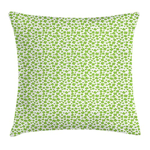 GONIESA Shamrock Throw Pillow Cushion Cover, Irish Culture Clovers with St Patrick's Day Theme Lucky Four Leafs, Decorative Square Accent Pillow Case, 18 X 18 inches, Apple Green and White