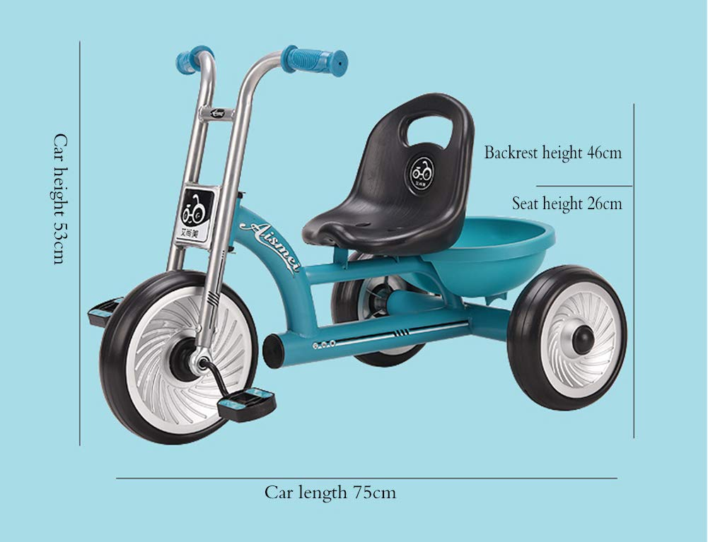 Children's Tricycle, Baby Stroller One Button Quick Release High Backrest Stable Triangle Structure Promotes Balance Fast Loading Tires 1 to 6 Years Old Baby Park Travel YYY 4 In 1 Multi-Function: Used To Rotate a Three-Wheeled Baby Bicycle. The Tiltable Seat Can Be Pushed Into The Chair To Widen The Body. As The Child Grows, It Can Be Adjusted Back And Forth. The Rear Wheel Can Be Quickly Loaded With Only One Button. Baby Less Than 50 Kg ✅ Durable Material: This Children's Tricycle Bike Is Made Of High Quality Steel And Environmentally Friendly Pp Material. It Has Excellent Strength. The Frame Is Made Of High Carbon Steel Material. The Tensile Strength Increases. Overall Durability Is Increased. The Tires Are Explosion-Proof With a Bubble Wheel. ✅Safe Design: The Car Adopts a Stable Triangular Structure, Does Not Contain Inflatable Explosion-Proof Tires, And Is Stable And Difficult To Roll Over. The Electrostatic Dust-Free Coating Also Uses a Lightweight High-Carbon Steel Frame, Which Greatly Improves The Stability Of The Car. 6