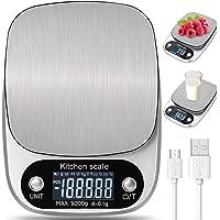 Bilancia da Cucina Digitale con Carica USB 5kg  11lb 0 1g Bilance Multifunzione Alimentari Elettronica con Retroilluminato e Timer Allarme Peso Cucina Design in Acciaio  Argento