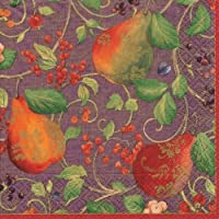 Luncheon Napkins Dessert Napkins Paper Napkins Holiday Party Christmas Party Purple Pears 40 Pc
