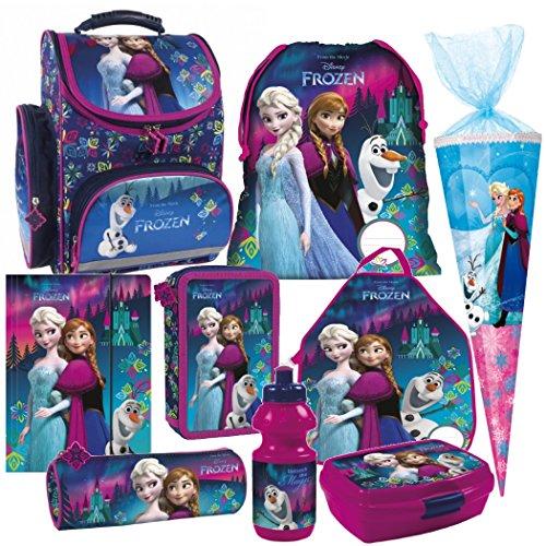 Disney FROZEN EISKÖNIGIN Anna Elsa 9 Teile lila SET SCHULRANZEN RANZEN Prinzessin Schultüte 85 cm Tornister Federmappe mit Sticker von kids4shop (Lila Schulranzen)