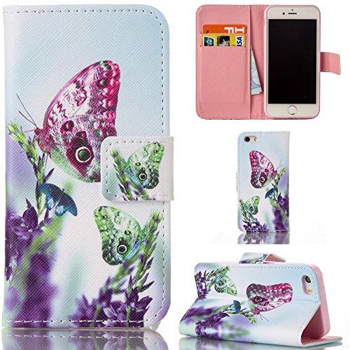 Ooboom® iPhone 5SE Hülle Flip PU Leder Schutzhülle Tasche Case Cover Wallet Stand mit Kartenfächer Kartenfach für iPhone 5SE - Traumfänger Schmetterling Blume