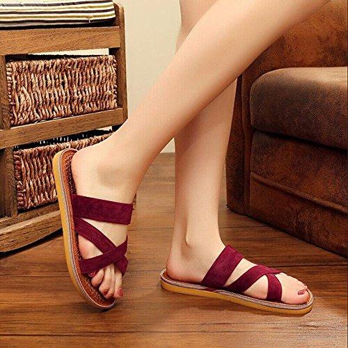 GJDE Femmes Summer Beach Sandales Femmes et Pantoufles Purple