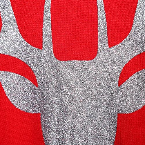 YesFashion Damen Weihnachten Casual Loose Tops Langarm Oberteile T Shirts Blumenmuster Gestreiftes Longshirt Rentier Rentier