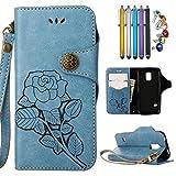 LEMORRY Samsung Galaxy S5 Mini/G800F Hülle Tasche Ledertasche Beutel Schutz Magnetisch mit Kartenschlitz Weich TPU Silikon Flip Cover Schale Handyhülle für Galaxy S5 Mini, Retro Roses (Blau)