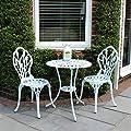 Garten-Bistro-Sitzgarnitur - Tulpen-Design - 1 Tisch & 2 Stühle - Aluguss - Weiß