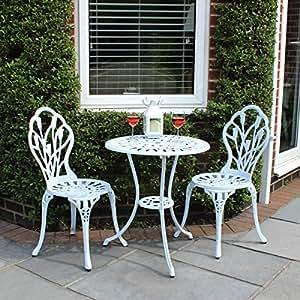 Lot de 2 chaises et 1 table motif tulipes - salon de jardin style bistro - aluminium moulé - blanc