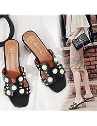 ZHZNVX Zapatos Casuales nuevos Diamantes de Imitación Amor Zapatillas de Caballo con Gruesas Sandalias Zapatos...
