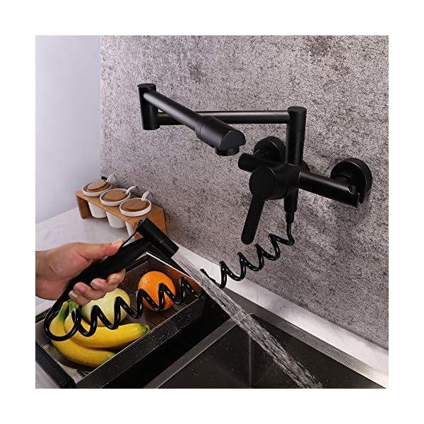 Jackeylove Grifo De La Cocina Plegable De Cobre De Una Sola Pila Plegable Fregadero De La Cocina Grifo con Pistola Rociadora Multifunción De Agua Fría Y Caliente Grifo De Pared Plegable,Gray