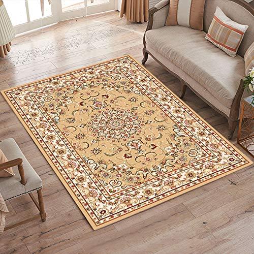 YXZN Traditionelles Rechteck Gedruckt Teppich Wohnzimmer Sofa Schlafzimmer Luxus Bereich Teppich Hotel Rutschfeste Bodenmatte,Yellow,120X160CM - Luxus Traditionelle Teppich