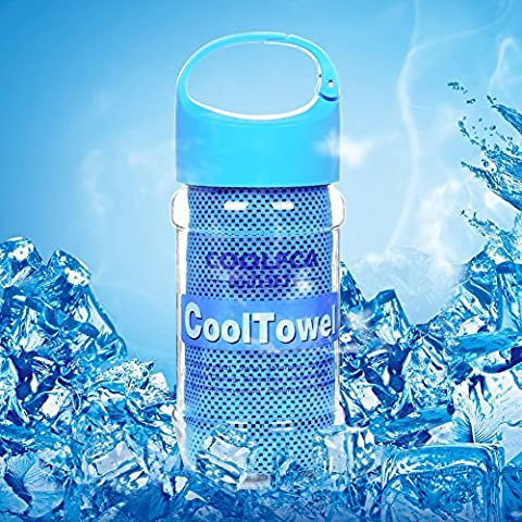 Serviette de Refroidissement PONCTUEL ESCARGOT Résistant à UV Absorption de Sueur Refroidissement Physique Duratif Sport du Dehors Activités de Plein Air Chaleur Multicolor (Bleu)