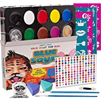 Blue Squid Face Paint for Kids, 193 Pieces, 8 Colour, 30 Stencils, Brushes, Gems, Sponges & Applicator, Best Value Quality Party Pack for Kids, Safe Facepainting Sensitive Skin, Quality Water Based