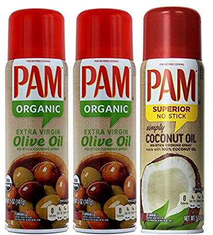 PAM® USA (3-Pack) - PAM Organic Olive Oil Spray & PAM Coconut (141g x 3)