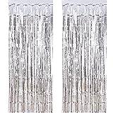 Outus 2 Packung Folie Vorhang Metallic Folie Fransen Vorhänge Tür Fenster Vorhänge für Party Dekorationen (Silber)