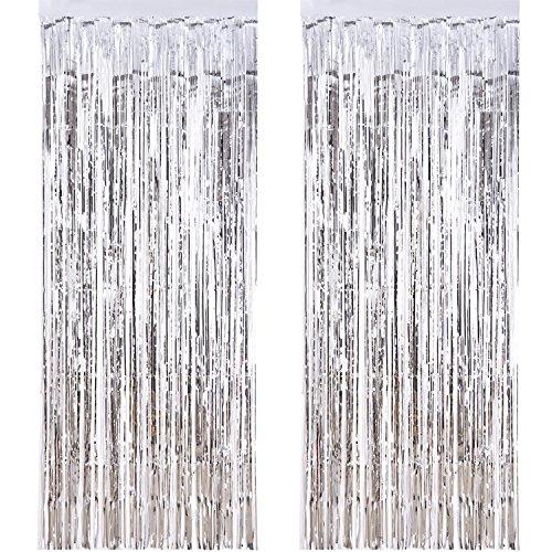 (Outus 2 Packung Folie Vorhang Metallic Folie Fransen Vorhänge Tür Fenster Vorhänge für Party Dekorationen (Silber))