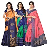 Oomph! Women's Raw Silk Printed Sarees Combo - Multi_combo3_7784blue82