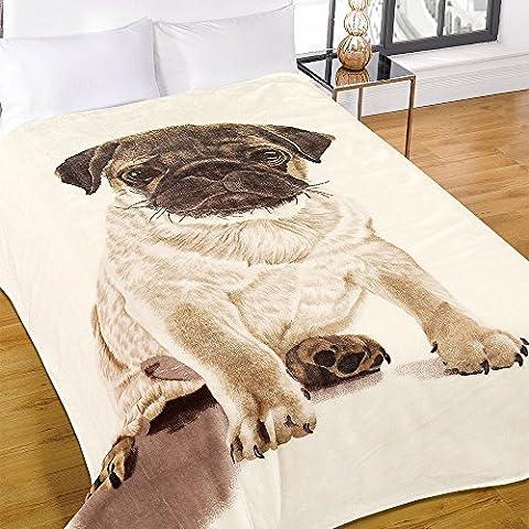 Dreamscene Luxus Warm Soft Mink Kunstfell Mops Hund Sofa Bett