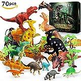 Rolytoy VraiJouet Dinosaurier, 30 Stück Dinosaurier Spielzeug Set mit 10 Stück Bäume und Berge Velociraptor Tyrannosaurus für Kinder ab 3 Jahren