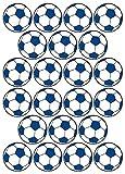 22 Aufkleber, Fußball, Sticker, 50 mm, weiß/blau, aus PVC, Folie, bedruckt, selbstklebend, EM, WM, Bundesliga