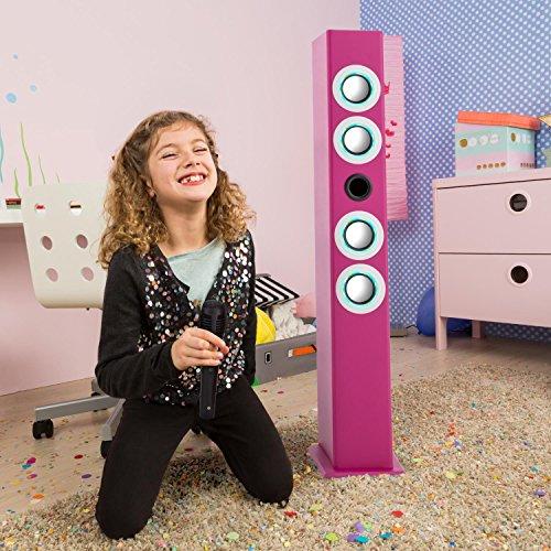 oneConcept Tallgirl • Karaoke Anlage • Karaoke Player • Karaoke Set • Turmlautsprecher • vier Breitbandlautsprecher • Bassreflex • Bluetooth • 2 x Kabelmikrofon • 1000 mAh Akku • Radio-Tuner • USB-Port • MP3-fähig • AUX-IN • LED-Effektbeleuchtung • pink - 2