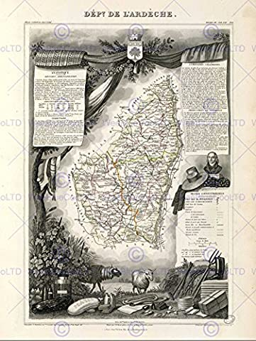 MAP OLD FRANCE LEVASSEUR ARDECHE DEPARTMENT POSTER AFFICHE ART PRINT BB12004B