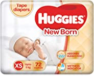 Huggies New Born Taped Diapers (72 Counts)