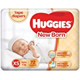 Huggies Ultra Soft Extra Small / New Born (XS / NB) Tape Diapers (72 Counts)