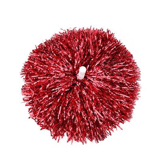 (100g) 1 Para Kunststoff Cheerleader Cheerleading Pom Poms Jubeln Zubehör Pompoms für Kleid Nacht Dance Party (Rot)
