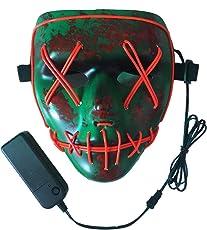 Neusky LED LEUCHT Maske, 3 Verschiedene Blinkmodi Elektronik Maske, Party Leuchtmaske (Grün-Rot)