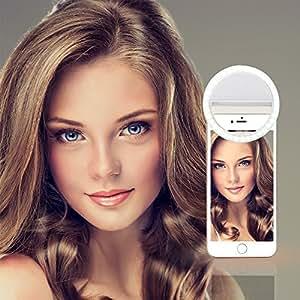 Mindkoo Selfie Luce Anello Flash Macro Ring Light Portatile LED Esterno Supplementare di Illuminazione Notturna con 3 Livelli di Luminosità per iPhone Samsung HTC Nokia iPad LG Motorola e Altri Smartphone