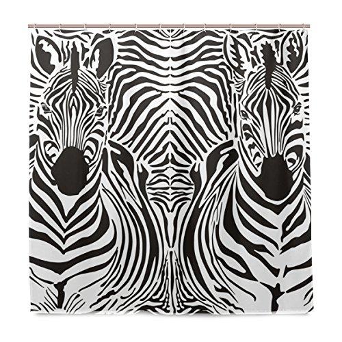 Zebra-print-thema (Vorhänge Dusche Zebra Wild Animal Print Wasserdicht Stoßfest Schimmel waschbar Polyester Bad Vorhang mit Langlebig Haken für Badezimmer Zubehör Home Dekoration 182,9x 182,9cm)