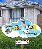 98 cm Baby-Klapperstorch & Beschriftungstafel GLÜCKWUNSCH JUNGE BLAU für draußen Geburt Storch-Holz Alternative