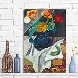 Bilderwelten Glasbild - Kunstdruck Paula Modersohn-Becker - Stillleben mit Tulpen in blauem Topf - Hoch 3:2, Wandbild Glas Bild Druck auf Glas Glasdruck, Größe HxB: 60cm x 40cm