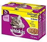 Whiskas Katzenfutter 7+ für Katzen ab 7 Jahren und älter - saftige Geflügel-Auswahl in Gelee / 48 Portionsbeutel (12 x 100g)