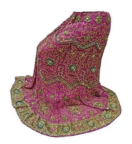 PEEGLI Indian Donne Di Usura Tradizionali Nuziali Lehenga Scucito Con Pezzo Camicetta Rosa
