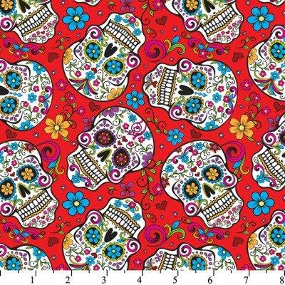 Totenkopf Stoff–Skulls mexikanischen Folklore–DT06–von 0,5Meter–100% Baumwolle