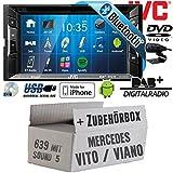 Mercedes Vito/Viano 639 - Autoradio Radio JVC KW-V235DBTE - DVD | Bluetooth | DAB+ | CD | MP3 | USB | Android | iPhone | 2-Din - Einbauzubehör - Einbauset