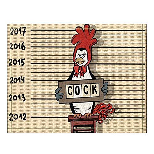 Vektor Kostüm - GzHQ Vektor Humorvolle Karikatur 2017 Neujahr Dekor Pinguin Verhaftet für einen Hahn Kostüm Bad Teppiche rutschfeste Boden Eingänge Outdoor Indoor Haustür Matte 60x40 cm Badematte