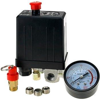 PROGEN SINGLE PHASE SWITCH AIR VALVE COMPRESSOR PRESSURE GAUGE CONTROL RELIEF 220V