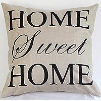 "Xuxuou fundas de almohada de lino cómodo simple ""home sweet home"" impresión almohada sofá cojín cubierta protectora 1 pcs"