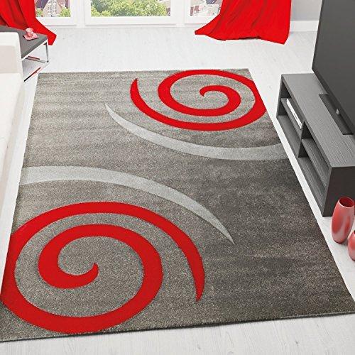 Teppich Modern Wohnzimmer Teppiche in Grau Rot Kreisel Muster Hoch Tief Konturen, Pflegeleicht und Schadstoff geprüft - VIMODA, Maße:160x230 cm