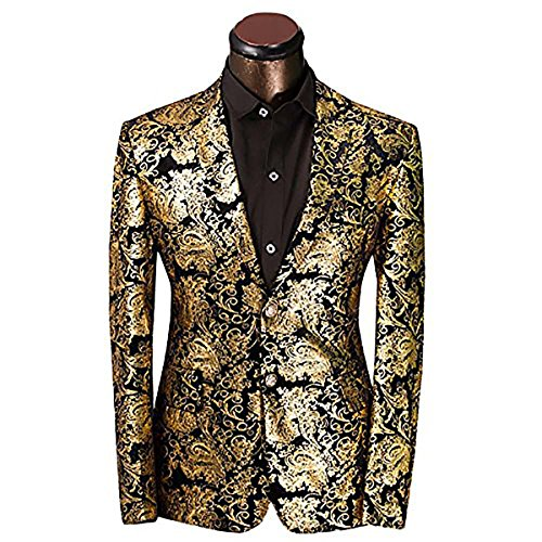 Men's Luxury Casual Velvet Dress Suit Slim Fit Floral Prints Stylish Blazer Coats Chic Jackets