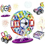 Minetom Magnetic Blocks, Magnetic Building Tiles Set, STEM Educational Magnet Stacking Toys for Kids Toddlers Children, 92 Pieces