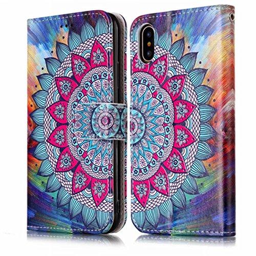 inShang Custodia per iPhone X 5.8 inch con design integrato Portafoglio, iPhoneX 5.8inch case cover con funzione di supporto. Half flower