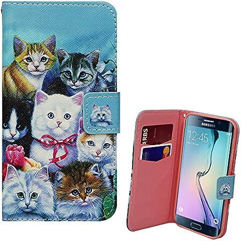 Xtra-Funky Serie Samsung Galaxy S7 Edge cassa dell'unità di elaborazione del raccoglitore di cuoio con gattini