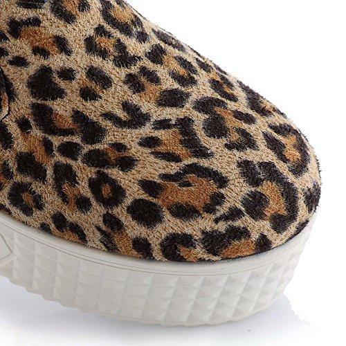 VogueZone009 Femme Suédé Couleur Unie Tire Rond à Talon Haut Chaussures Légeres Jaune