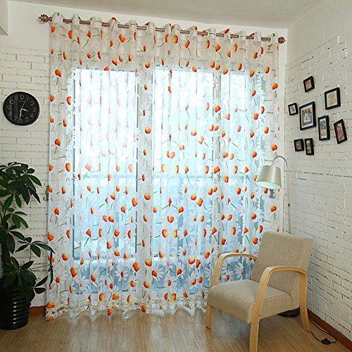 Sundlight, tende con stampa di margherite in stile country per soggiorno, camera da letto, decorazione per balcone, Daisy Curtains