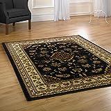 Große Classic Orient Perser-Stil Blumen traditionellen Teppich/Matte, schwarz–120x 170cm